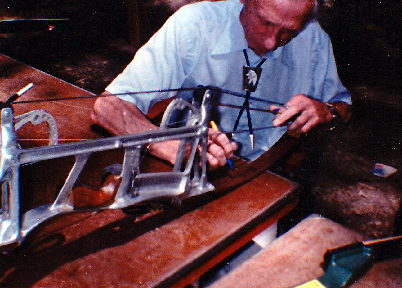 Fred Bear Signing a Trottermatic bow in Jackson MS, August 15, 1980