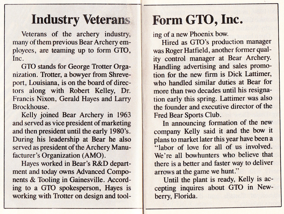 GTO Announcement from Archery Business 1989