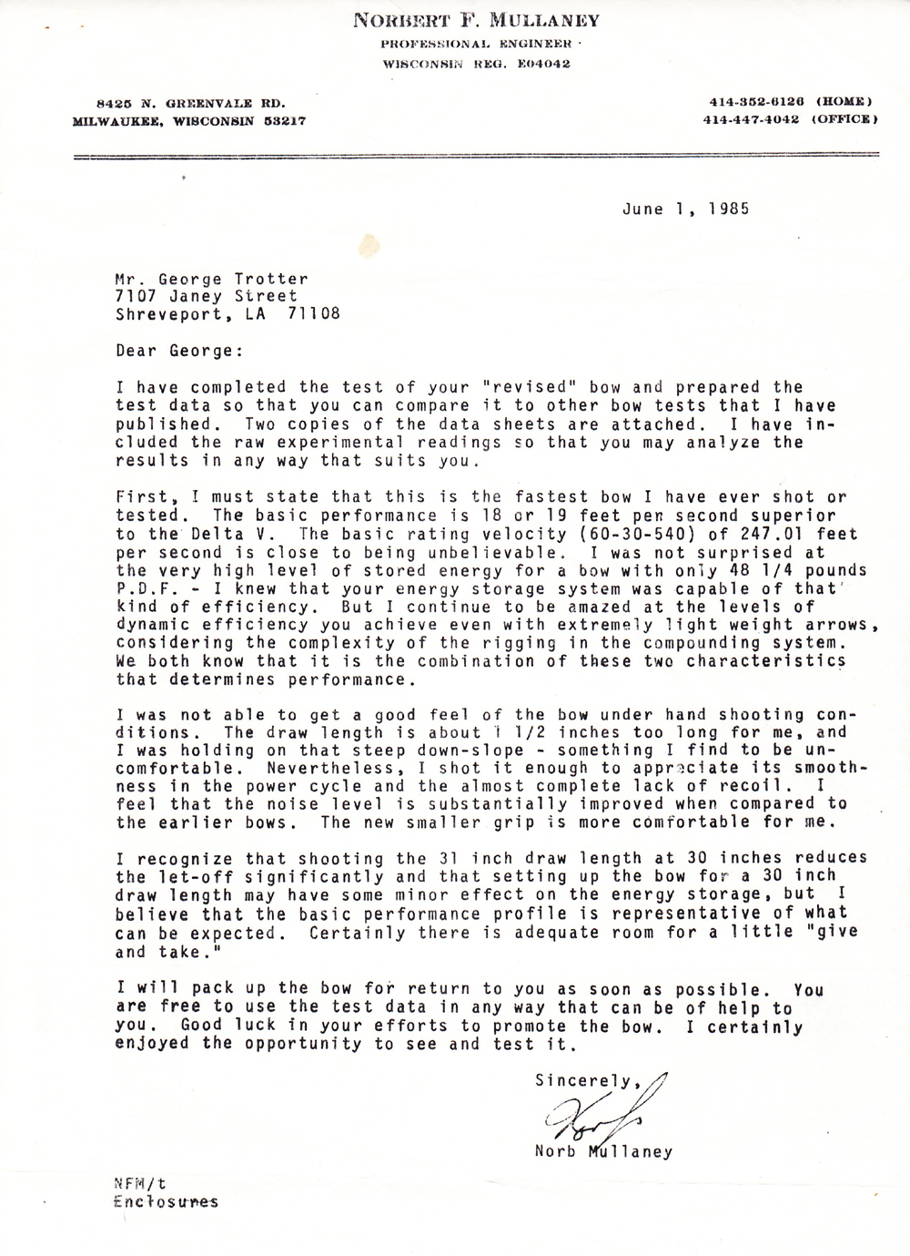 "Norb Mullaney letter about ""revised"" Trotter bow"
